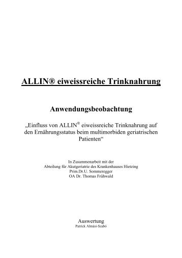 ALLIN® eiweissreiche Trinknahrung Anwendungsbeobachtung