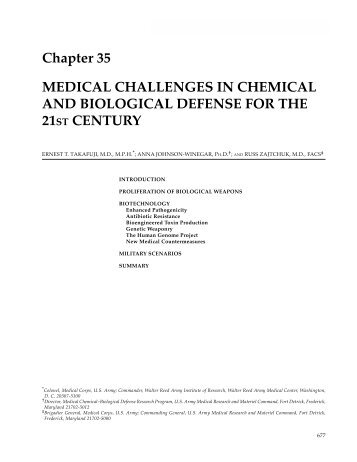 Medical Challenges in Chemical and Biological Defense for