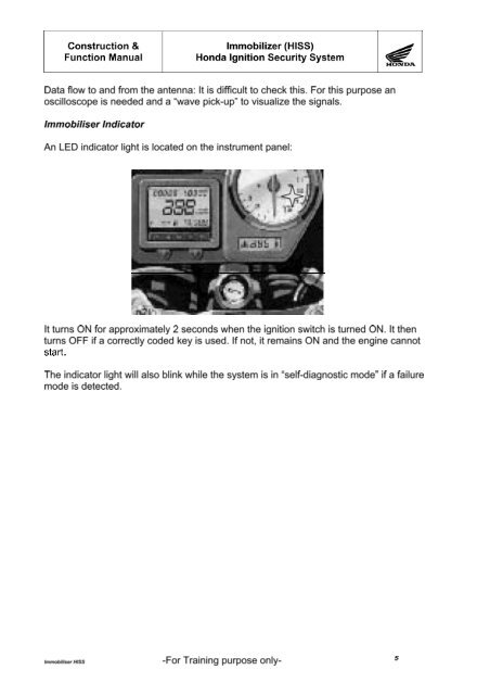 Honda Hiss Immobiliser