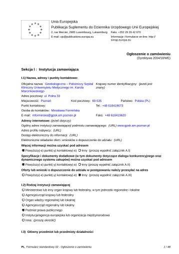 Formularz do publikacji ogłoszenia o zamówieniu w Dzienniku