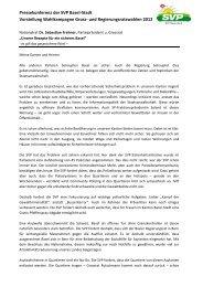 Pressekonferenz der SVP Basel-Stadt Vorstellung Wahlkampagne ...