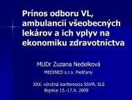 Prínos odboru VL, ambulancií všeobecných lekárov a ich vplyv na ...