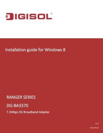 DG-BA3370 Installation Guide for Windows 8 - Digisol.com