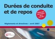 Brochure Swiss-Drivers sur durées de conduite et