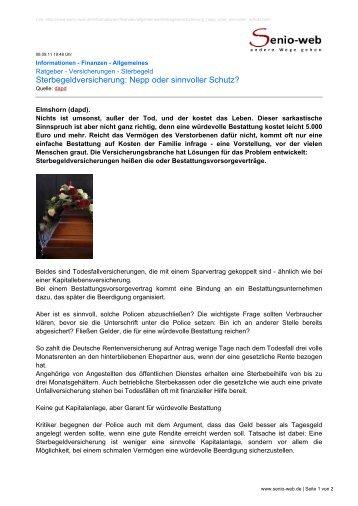 Sterbegeldversicherung: Nepp oder sinnvoller Schutz? - Senio-Web