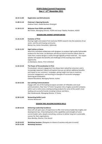 FESPA Global Summit 2011 Programme