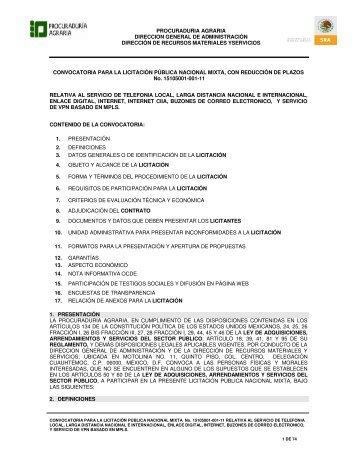 CONVOCATORIA DE LA LICITACIÓN PÚBLICA NACIONAL MIXTA ...