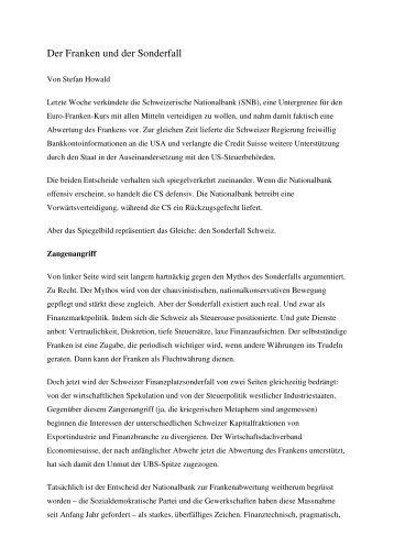Der Franken und der Sonderfall - Stefan Howald