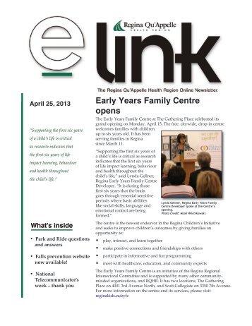 e-link - April 25, 2013 - Regina Qu'Appelle Health Region
