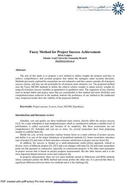 Fuzzy Method for Project Success Achievement