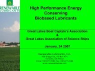 High Performance Energy Conserving Biobased Lubricants