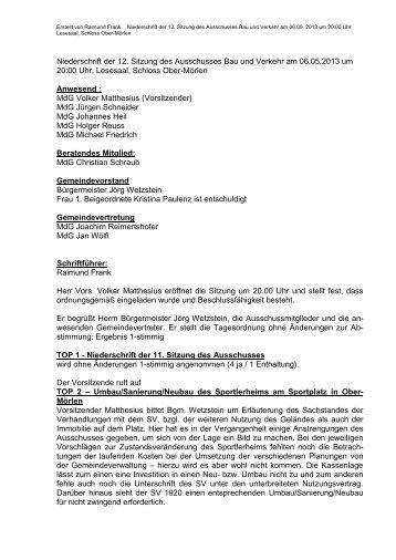 Niederschrift der 12. BuV-Sitzung vom 06.05.2013 - Gemeinde Ober ...