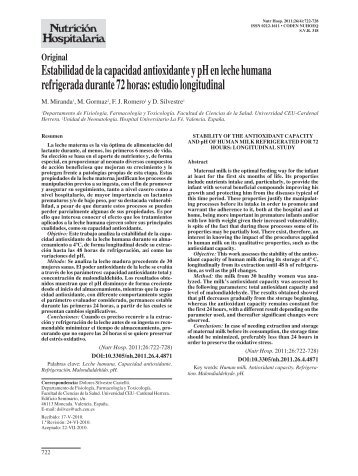 stability of the antioxidant capacity and ph of human milk refrigerated ...