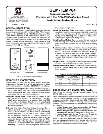 gem temp64 temperature sensor installation instructions napco?quality=85 gem rp3dgtl digital keypad napco gem-p1632 wiring diagram at panicattacktreatment.co