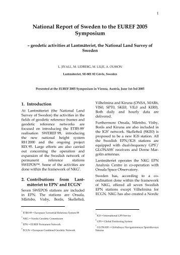 National Report of Sweden to the EUREF 2005 ... - Lantmäteriet