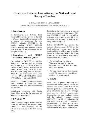 National Report of Sweden - Lantmäteriet
