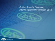 OpSec Security Group plc Interim Results Presentation 2012
