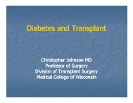 Diabetes and Transplant - Medical College of Wisconsin