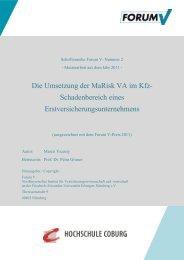Marktanalyse Versicherungswissenschaften - Forum V