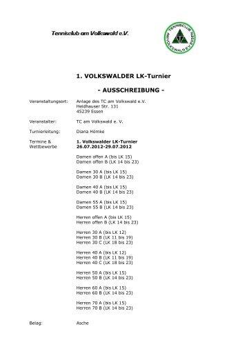 1. VOLKSWALDER LK-Turnier - AUSSCHREIBUNG - - TVPro-online