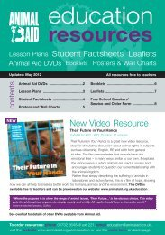Download a pdf of the Animal Aid Education Resources List
