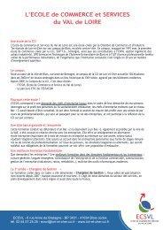 L'ECOLE de COMMERCE et SERVICES du VAL de LOIRE - L'Etudiant