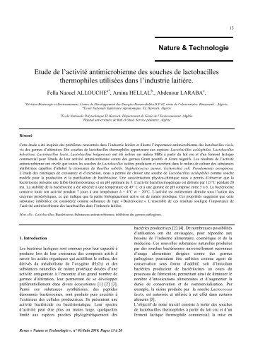 Etude de l'activité antimicrobienne des souches de lactobacilles ...