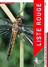 Liste Rouge des Libellules menacées en Suisse 2002 - CSCF