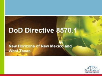 DoD Directive 8570.1 - New Horizons