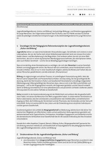 Pädagogische Rahmenkonzeption (Kurzfassung) - FSJ Kultur