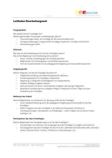 Leitfaden Einarbeitungszeit - FSJ Kultur in NRW