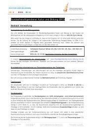 Bundesfreiwilligendienst Kultur und Bildung (BFD) Beiblatt Verwaltung