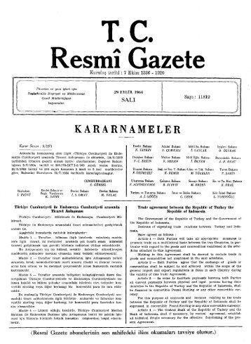 KARARNAMELER - Resmi Gazete