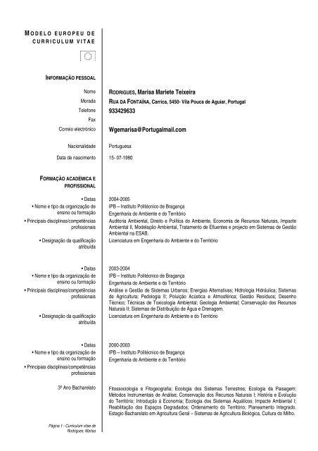 curriculum vitae ipb- bragança