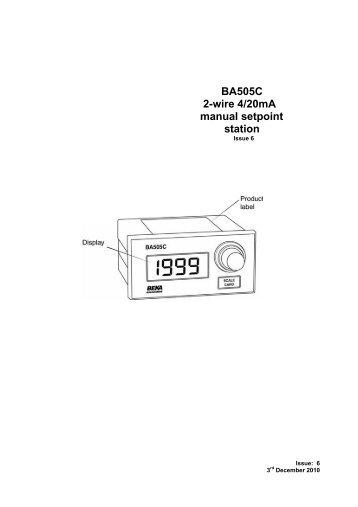 BA505C 2-wire 4/20mA manual setpoint station - Ex-Baltic