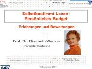 Selbstbestimmt Leben: Persönliches Budget - Budget-tour.de