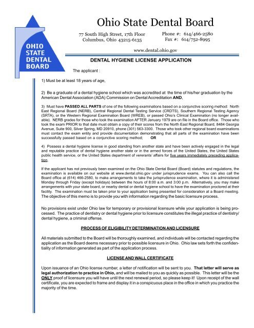 Application Packet For Dental Hygiene License The Ohio