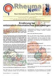 Ernährung bei entzündlich rheumatischen ... - in Rheuma-World