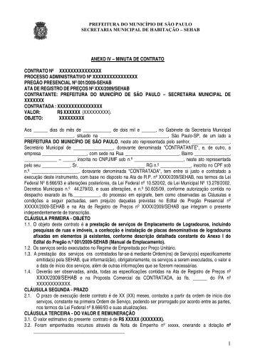 Minuta de Contrato - Prefeitura de São Paulo