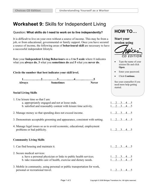 Worksheet 9 Skills For Independent Living Bridges