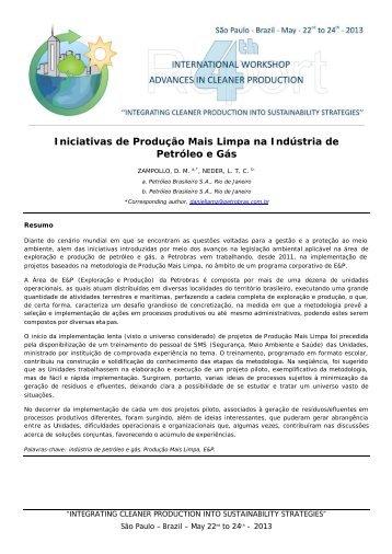 Iniciativas de Produção Mais Limpa na Indústria de Petróleo e Gás
