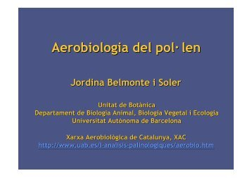 Aerobiologia del pol· len - LAP - Universitat Autònoma de Barcelona