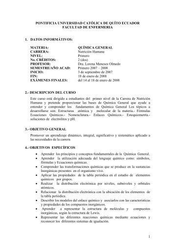 Quimica General - Pontificia Universidad Católica del Ecuador