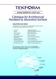 Catalogue for Architectural Hardware & Decorative Surfaces - Tekform