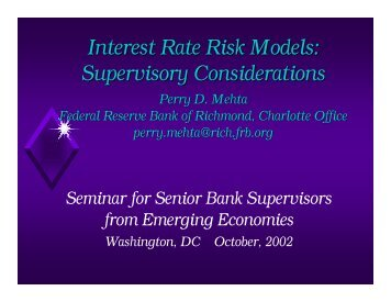 IRR Models Supervisory Considerations 0902 - World Bank