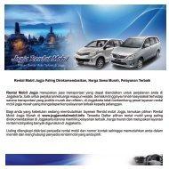 Pilihan Rental Mobil Jogja , Sewa Mobil Jogja Terbaik
