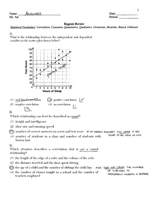 Regents Review Worksheet - Statistics Vocab - 1 - Answers pdf