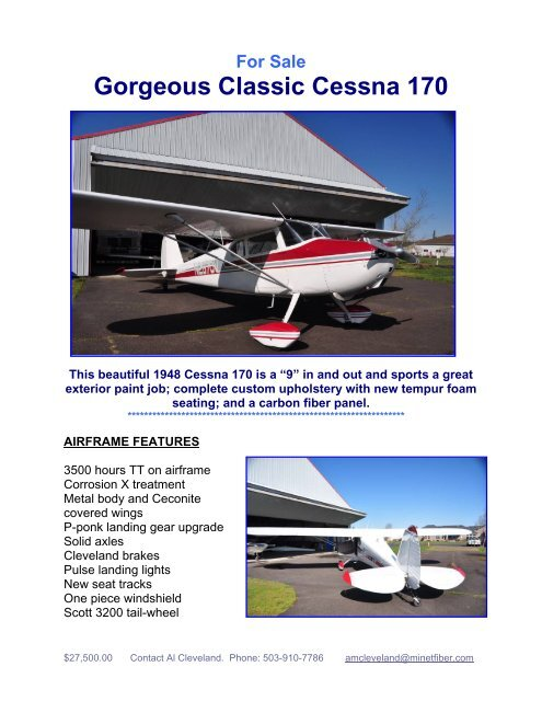 For Sale Gorgeous Classic Cessna 170 - Barnstormers