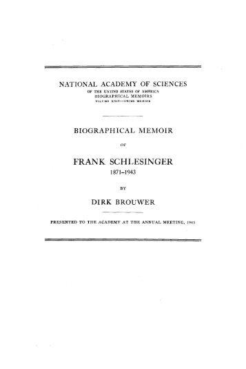 FRANK SCHLESINGER - The National Academies Press