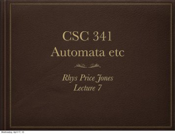 Rhys Price Jones Lecture 7